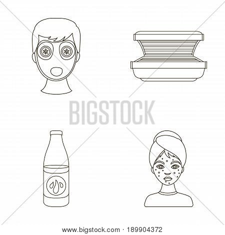 Face mask, solarium, bottle ts lasenom, pimples on face. Skin Care set collection icons in outline style vector symbol stock illustration . poster