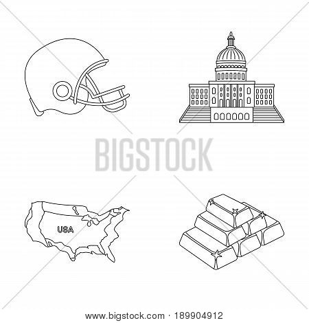 Football player s helmet, capitol, territory map, gold and foreign exchange. USA country set collection icons in outline style vector symbol stock illustration .
