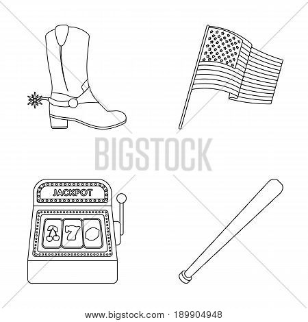 Cowboy boots, national flag, slot machine, baseball bat. USA country set collection icons in outline style vector symbol stock illustration .