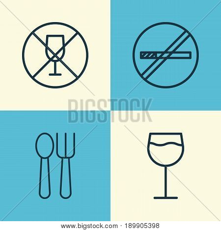Icons Set. Collection Of Alcohol Forbid, Cutlery, Stop Smoke And Other Elements. Also Includes Symbols Such As Wineglass, Spoon, Smoking.
