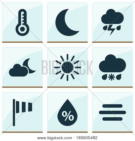 Air Icons Set. Collection Of Moonlight, Haze, Temperature And Other Elements. Also Includes Symbols Such As Sunny, Light, Haze.