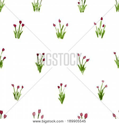 Calico Watercolor Pattern. Beauteous Seamless Cute Small Flowers For Fabric Design. Calico Pattern I