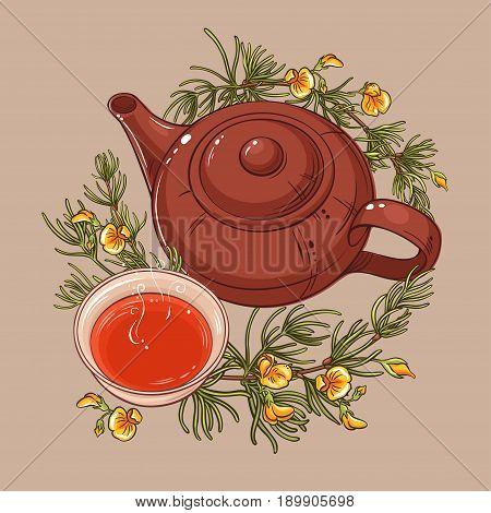 rooibos tea in teapot and tea bowl vector illustration