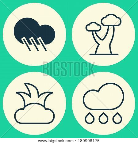 World Icons Set. Collection Of Bush, Rain, Raindrop And Other Elements. Also Includes Symbols Such As Rain, Bush, Raindrop.