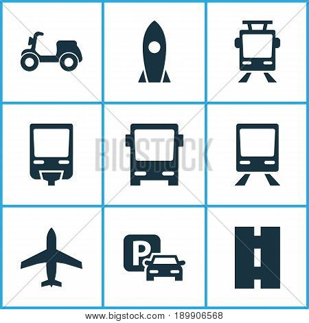 Transport Icons Set. Collection Of Omnibus, Railway, Road Sign And Other Elements. Also Includes Symbols Such As Railroad, Omnibus, Parking.