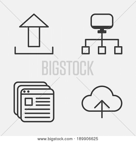 Internet Icons Set. Collection Of Data Synchronize, Website Bookmarks, Send Data And Other Elements. Also Includes Symbols Such As Upload, Synchronize, Bookmark.