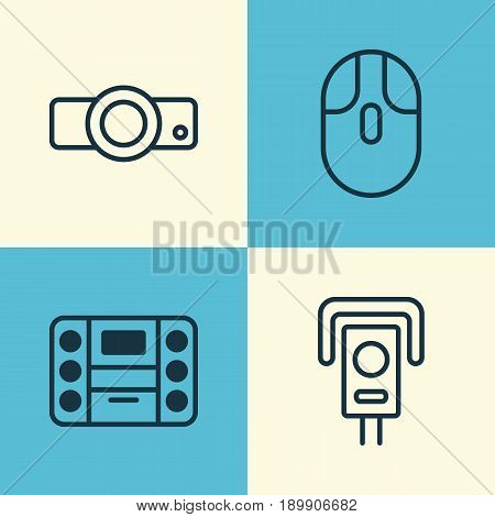 Gadget Icons Set. Collection Of Boombox, Presentation, Security Camera And Other Elements. Also Includes Symbols Such As Player, Presentation, Music.