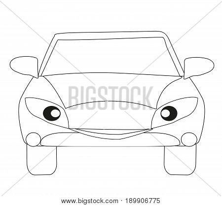 Car cartoon character Isolated coloring book doodle
