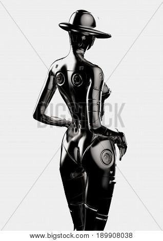 3D illustration. The stylish cyborg the woman. Futuristic fashion android.