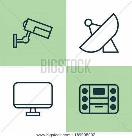 Hardware Icons Set. Collection Of Antenna, Surveillance, Boombox And Other Elements. Also Includes Symbols Such As Antenna, Music, Monitor.