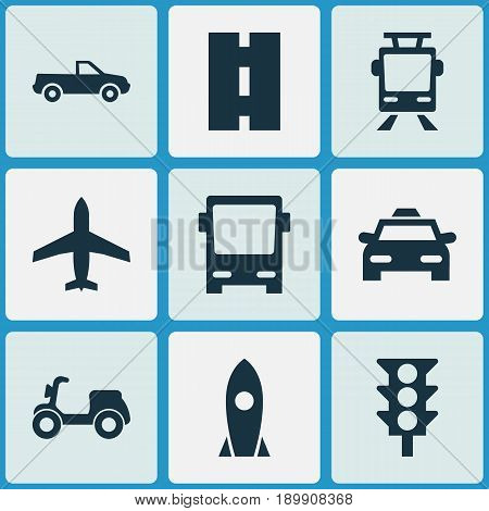 Transportation Icons Set. Collection Of Omnibus, Cab, Skooter And Other Elements. Also Includes Symbols Such As Pickup, Rocket, Traffic.