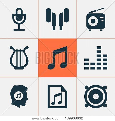 Multimedia Icons Set. Collection Of Mike, Equalizer, File And Other Elements. Also Includes Symbols Such As Headphone, Tuner, Fm.