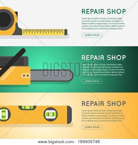 Repair tool shop banner set. diy store online banner design.