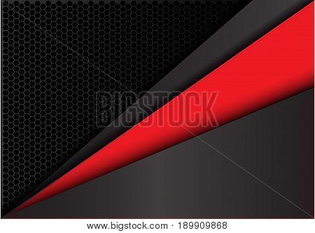 Abstract red in dark gray metal hexagon mesh design modern background texture vector illustration.