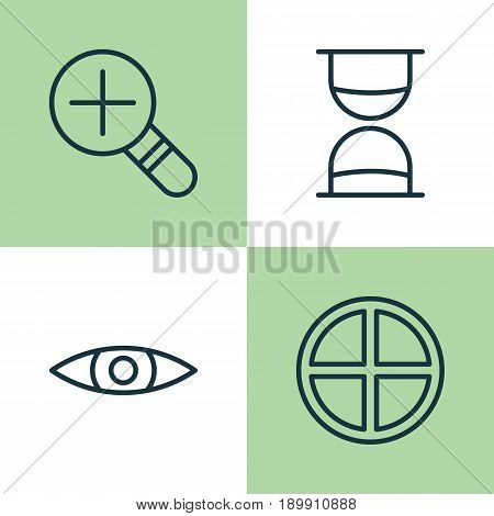 Internet Icons Set. Collection Of Glance, Hourglass, Increase Loup And Other Elements. Also Includes Symbols Such As Hourglass, Zoom, Plus.