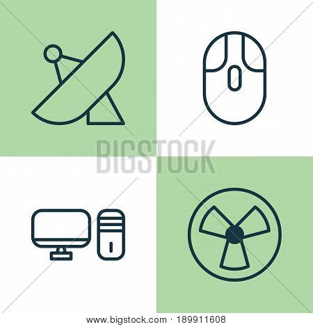 Icons Set. Collection Of Antenna, Ventilator, Cursor Mouse And Other Elements. Also Includes Symbols Such As Antenna, Desktop, PC.