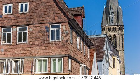 Houses And Church Tower In The Center Of Detmold