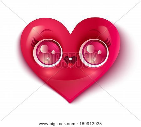 Vector cartoon of a cute heart in kawaii style.