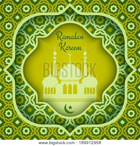 Vector greeting card for Ramadan. Ramadan Kareem.