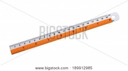 Closeup Stainless steel Ruler on White background