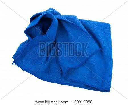 Blue Microfiber Cloth Isolated on White Background