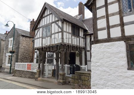 Ruthin Wales UK - June 4 2017: Nantclwyd y Dre Wales oldest timber frame town house dated to 15th century and now a museum owned by Denbighshire council