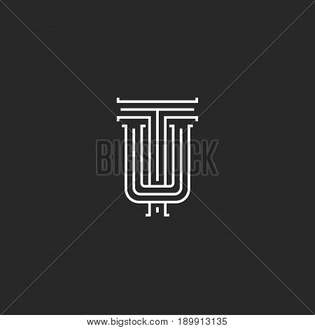 Letters Tu Logo Hipster Monogram, Intersection Thin Line Emblem Ut Wedding Initials, Overlapping Two