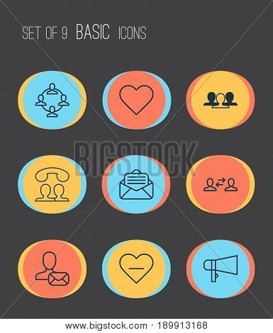 Communication Icons Set. Collection Of Group, Follow, Speaking People And Other Elements. Also Includes Symbols Such As Bullhorn, Unity, People.