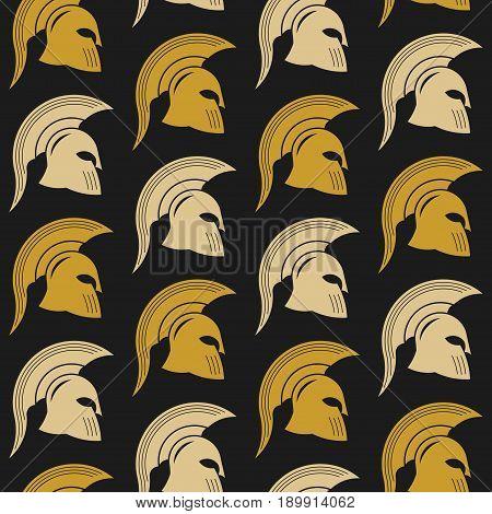 Spartan battle helmet seamless texture golden helmet warrior gladiator gladiator helmet vector image