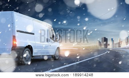 Delivery van driving in snow on a road to a city (3D Rendering)