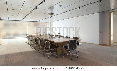 Table and chairs in conference room in business loft (3D Rendering)