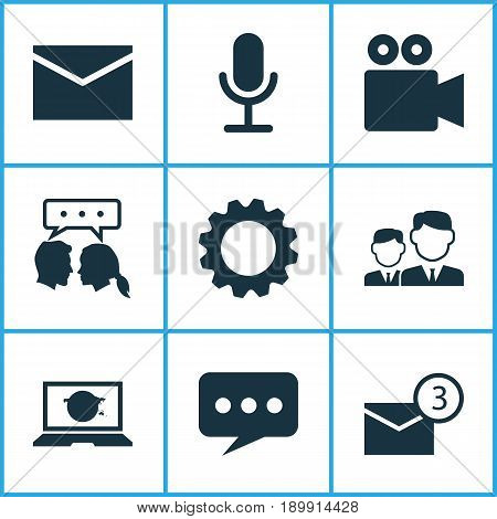 Media Icons Set. Collection Of Message, Inbox, Camcorder And Other Elements. Also Includes Symbols Such As Letter, Mail, Bubble.