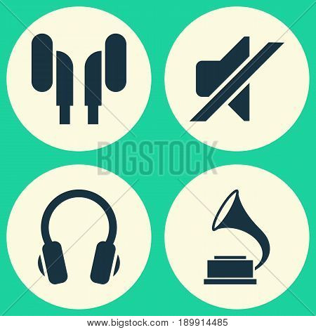 Audio Icons Set. Collection Of Earmuff, Silence, Phonograph And Other Elements. Also Includes Symbols Such As Volume, Mute, Antique.