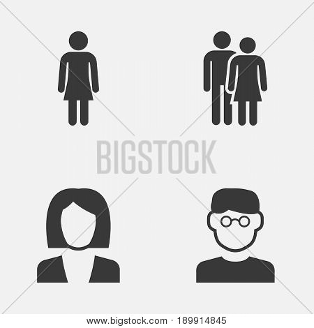 Human Icons Set. Collection Of Beloveds, Scientist, Businesswoman And Other Elements. Also Includes Symbols Such As Businesswoman, Scientist, Couple.