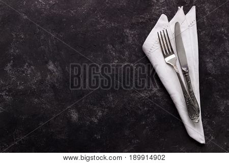 Vintage Cutlery On Dark Background
