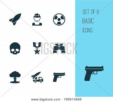 Warfare Icons Set. Collection Of Military, Cranium, Dangerous And Other Elements. Also Includes Symbols Such As Military, Gong, Ordnance.