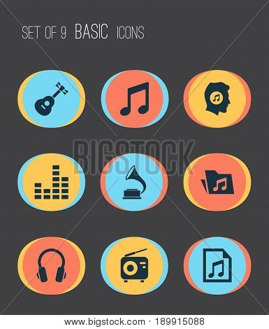 Multimedia Icons Set. Collection Of Equalizer, Earphone, Phonograph And Other Elements. Also Includes Symbols Such As Phonograph, Antique, Dossier.