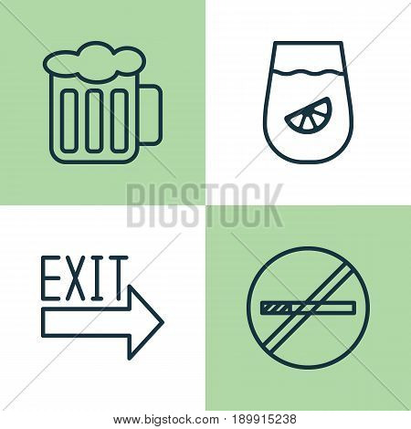 Icons Set. Collection Of Doorway, Lemonade, Stop Smoke And Other Elements. Also Includes Symbols Such As Restrict, Lemonade, Drink.