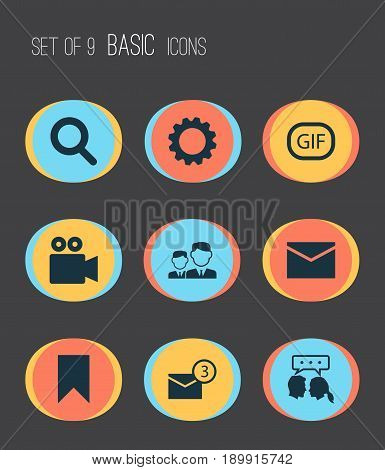 Social Icons Set. Collection Of Inbox, Gif Sticker, Gear And Other Elements. Also Includes Symbols Such As Cogwheel, Inbox, Sticker.