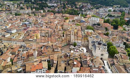 Aerial video shooting with drone on Trento, famous Trentino city near the Adige river in northern Italy