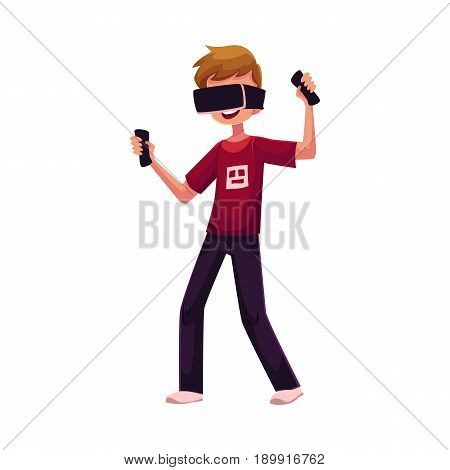 Boy wearing virtual reality headset, simulator, cartoon vector illustration isolated on white background. Teenager, boy wearing virtual reality simulator, headset, device, using computer technologies