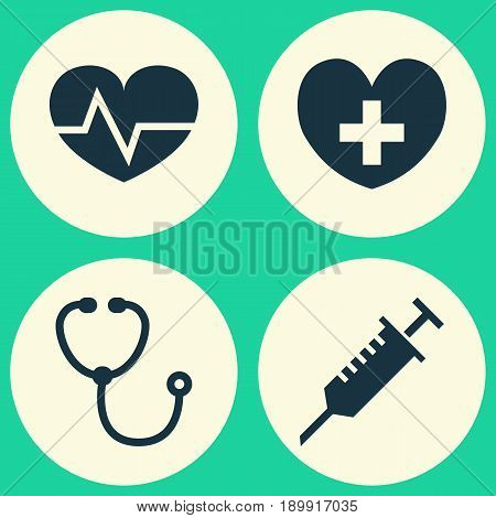 Drug Icons Set. Collection Of Beating, Heal, Device And Other Elements. Also Includes Symbols Such As Heart, Heal, Aid.