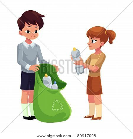Kids, boy and girl, collect plastic bottles into garbage bag, waste recycling concept, cartoon vector illustration isolated on white background. Children, boy and girl, collect plastic bottle garbage