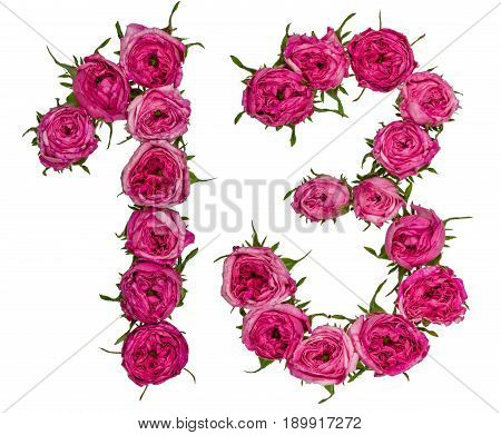 Arabic Numeral 13, Thirteen, From Red Flowers Of Rose, Isolated On White Background