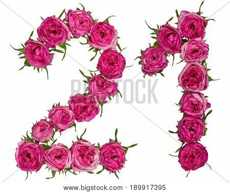 Arabic Numeral 21, Twenty One, From Red Flowers Of Rose, Isolated On White Background