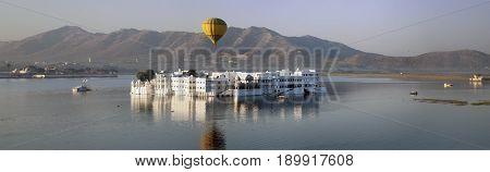 Panorama from the palace Jal Mahal (Water Palace) Jaipur Rajasthan India