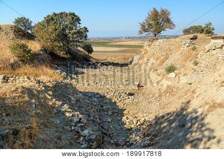 The Schliemann Trench In Ancient City Troy. Turkey