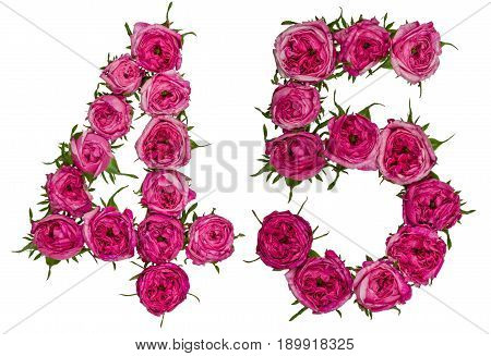 Arabic Numeral 45, Forty Five, From Red Flowers Of Rose, Isolated On White Background