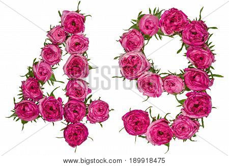 Arabic Numeral 49, Forty Nine, From Red Flowers Of Rose, Isolated On White Background