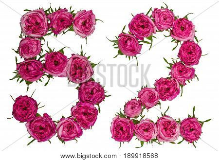 Arabic Numeral 52, Fifty Two, From Red Flowers Of Rose, Isolated On White Background